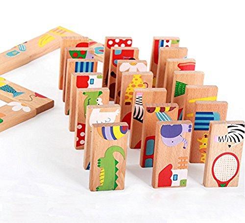 Enfant-Puzzle-DominoChickwin-28PCS-Jouets-ducatifs-puzzle-en-bois-En-Bois-l-a-Pense-Des-Enfants-Et-le-Dveloppement-Cognitif-Jouets