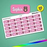 Stickerella - 30 Namensaufkleber für Kinder - Namensetiketten für Schule und Kindergarten, personalisierbar, permanent, wasserfest (11 x 26 mm) (rosa)