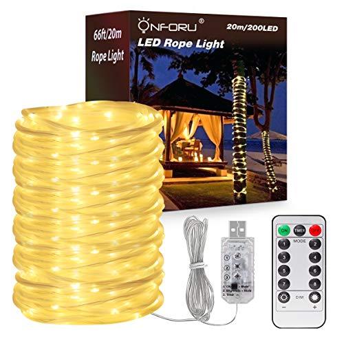 Onforu 20m LED Lichtschlauch mit Fernbedienung | Dimmbar 200 LEDs USB Lichterschlauch Lichterkette mit 8 Modi und Timer | IP65 Wasserdicht | Geeignet für Innen Außen Party Balkon DIY Deko - Warmweiß