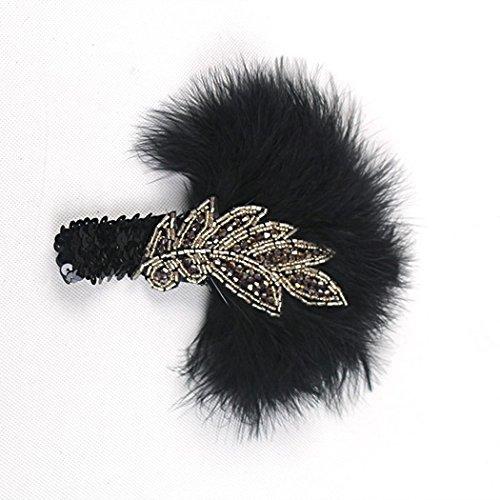 (dressfan Vintage Flapper schwarze Feder Stirnband Damen Strass Stirnband 1920er Jahre Maskerade Headwear Haarband Feder Stirnband für Damen Party)