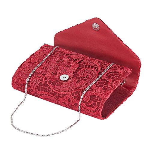 CLOCOLOR Borsa Pochette a mano delle donne con pezza raso borsetta stile elegante dolce borsa festa sacchetto di sera, Borgogna Borgogna