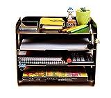 Schreibtischorganizer Holz Briefablage Dokumentenhalter mit 4 Einlegeböden Multifunktional Ablagesystem für Briefe Magazin Zeitungen und Bücher