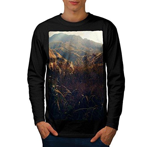 Natur Berg Tal Sonnig Feld Men XL Langarm T-Shirt | Wellcoda (Langarm-shirt-feld)