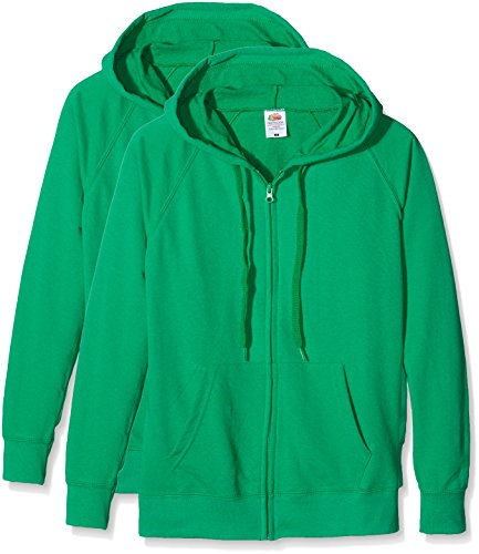 Fruit of the Loom Ladies Lightweight Hooded Jacket, Felpa Donna, Verde (Kelly Green), M