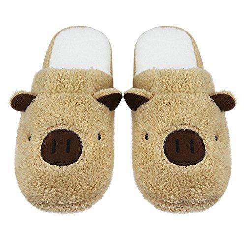 Pantoufles Couple Thermique Chaussons d'Intérieur Maison Slippers en Peluche Sol Souple Mignon Cartoon Animal Porc Chaussures Ouvert Automne Hiver Mules Antidérapante Chaud pour Hommes Femmes