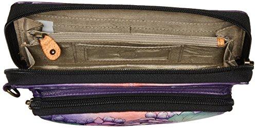 Pelle Anuschka dipinto a mano, il blocco RFID , zip intorno portafoglio, regalo di lusso per le donne , 1111 LLC Multicolore (Lush Lilac)