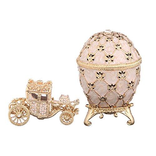 Fabergé-Stil Ei / Schmuckkästchen mit Kutsche & Doppelköpfiger Adler 9,5 cm cremefarbe