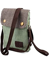 9d2b12ee48 Canvas Mini Cross Body Phone Bag Universal Mobile Phone Pouch Purse with  Wrist Strap for Women Girls Children for…