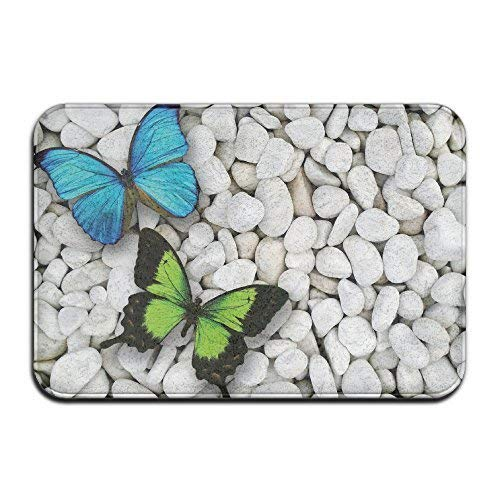 Bag hat Awesome Stone Blue Green Butterfly Doormats Anti-Slip House Garden Gate Carpet Door Mat Floor Pads - Butterfly Garden Tray