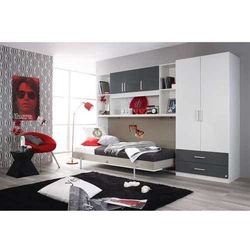 Schrankbett mit 90×200 Liegefläche in Weiß, Funktionsbett ist vertikal ausziehbar, Bett ist die perfekte Lösung für gesunden Schlaf in kleinen Räumen - 7