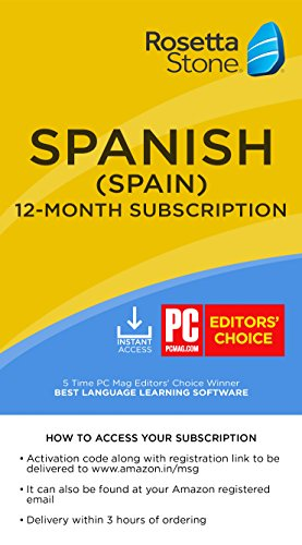 Rosetta Stone Learn Spanish (Spain) for 12 Months on iOS, Android, PC, and Mac - Mobile & Online Access (Email Delivery in 2 Hours - No CD) (Activation Key Card)