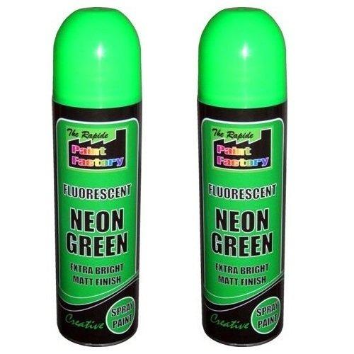 2-x-green-fluorescent-neon-spray-paint-matt-diy-interior-exterior-bright-colour-aerosol
