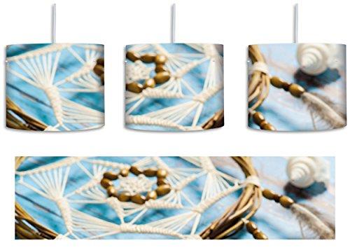 Traumfänger mit Federn inkl. Lampenfassung E27, Lampe mit Motivdruck, tolle Deckenlampe, Hängelampe, Pendelleuchte - Durchmesser 30cm - Dekoration...