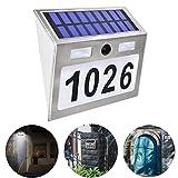 Buycitky, Targa con numero civico con luci, a energia solare, per esterni