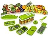 #9: Floraware Vegetable Cutter Chopper Slicer Dicer, 12-Piece, Green