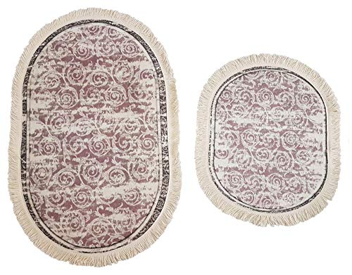 Altrosa Grau Creme Rosen Set da Bagno Ovale con Frange 60 x 100 cm e 49 x 60 cm Seroni 100 x 60 cm Set da Bagno Vintage per WC sospeso