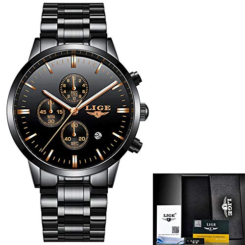 Lige New Luxury Brand Mens Sports Watch Gold Full Steel Relojes De Cuarzo Hombres Fecha Reloj Militar...