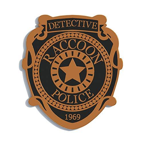 Wellgift Raccoon Polizei Abteilung Abzeichen Cosplay Bronze Zinklegierung Metall R.P.D Stift Halloween Verrücktes Kleid Kostüm Kleidung Zubehör Geschenk zum Erwachsene Unisex