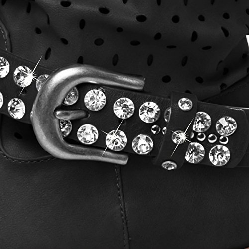 CASPAR Damen Stiefelband / Stiefelschmuck mit Strass und Nieten - viele Farben - STB012 Schwarz