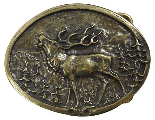 Fronhofer Hirsch Gürtelschnalle Buckle 40 mm, 4 cm Trachten Hirsch Jäger Gürtelschnalle, Messing Schnalle, oval, 18038, Größe:One Size, Farbe:Messing