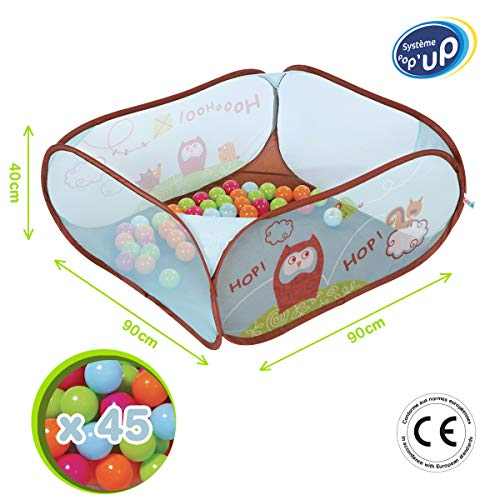 """LUDI - Piscine à balles """"Chouette"""" en tissu et structure pop-up 90 x 90 x 44 cm. 45 balles pour jouer en sécurité ! Dès 6 mois. L'aire de jeu se plie et se range dans un sac très léger- 2836"""
