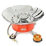 Camping Gaskocher, EZOWare Tragbar Faltbar Butangas-Kocher / Camping Kochherd / Einflammkocher mit Piezozündung und Windschutzblech - Silber 2800W