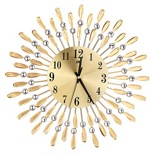 Lidahaotin Sun Shaped Round Strass Metall Uhr Home Office Shop Dekorative Kristall hängende Uhr Gold