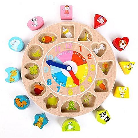 WMAOT Spielzeug Früh Lernen Holz Uhr Puzzle mit 12 Zahlen Tiere Blocks Pädagogischen Holzspielzeug