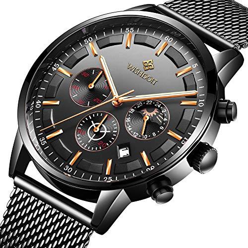 WISHDOIT Herren Uhren Mode Wasserdichte Chronograph Quarz Uhr für Mann Top-Marke Business Kleid mit Schwarzem Edelstahlgewebe Casual Uhr