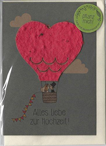 """Hochzeitskarte \""""Heißluftballon\"""" - Kraftkarton-Glückwunschkarte zum Einpflanzen (Wildblumen) - Gratulationskarte zur Hochzeit"""