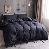 DOLPHIN's TEXTILE 3pcs Duvet Cover Set solide Farbe hypoallergene Plain Brushed Bedding Set Microfiber Plain reversisible Beding Kollektion,Navy,full173x228cm