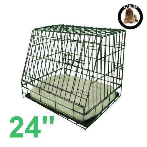 Artikelbild: Ellie-Bo Deluxe Käfig für Hundewelpen, faltbar, mit nicht kaubarer Metallablage, Fleece-Kissen und abgeschrägter Vorderseite für sicheren Autotransport, Größe S, 61°cm, Schwarz