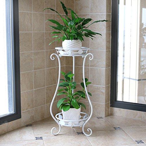 2-Tier-Eisen-Art Blumen-Rack Indoor-Balkon Anti-Rost-Pflanzenstand (Schwarz / Rot Bronze / Weiß) ( Farbe : Weiß ) -
