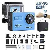 4K Action Cam WIFI 1080P/60FPS Unterwasserkamera Digital Wasserdicht 30M mit Fernbedienung und 18PCS Zubehör Kit. UHD Helmkamera 4K für Kinder,kopf,taucher,motorrad,drohne,unterwasser,fahrrad,surfen