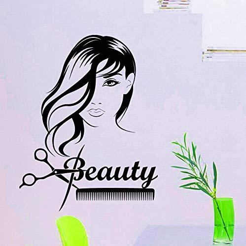 Schönheitssalon Haar Wandaufkleber Mode Mädchen Frau Haarschnitt Schere Friseur Aufkleber Vinyl Aufkleber Wanddekor Kunst Wandbilder 57X65CM