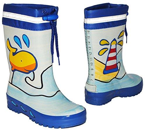 Gummistiefel - Wal & Fisch blau - mit Reflektor + zum Schnüren - Größe 23 - für Kinder / Jungen - Naturkautschuk + Innenfutter Baumwolle / Handbemalt mit 3-D Effekt - Fische Schnürung - Regenstiefel a