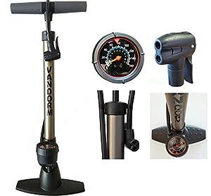 Vandorm Legend VII Track Pump Bicycle Cycle Alloy Floor Track Tyre Inflator Schrader/Presta valve tube Bike Pump with Gauge
