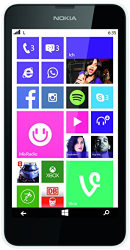 Nokia Lumia 635 Smartphone Mikro SIM (11,9 cm (4,6 Zoll) Touchscreen, 5 Megapixel Kamera, Win 8.1) Weiss