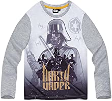 Star Wars-The Clone Wars Darth Vader Jedi Yoda Chicos Camiseta mangas largas 2016 Collection - Gris
