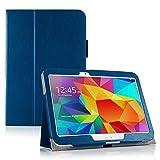 Invero® Premium Hülle Ledertasche umfasst Ständer Feature, Displayschutzfolie und Eingabestift Kugelschreiber für Samsung Galaxy Tab 4 10,1 Zoll SM T530 T531 (Blau / Blue)
