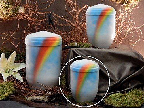 Tierurne aus hochw. Kupfer, Grundfarbe weiß, mit Airbrush-Regenbogen, Vol. ca. 0,50 Ltr.