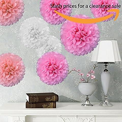 Bliqniq 8x fleurs en papier de soie pour la décoration de la noce,du baby shower. Blanc/Rose Clair/Rose(ø35cm)