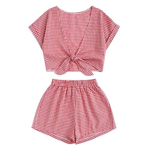 Bibao Damen-Pyjama Set, weich, elastisch, Spitze, Saum, ärmellos, Baumwolle, PJ Set Nachtwäsche, Nachtwäsche, Sommer - Baumwolle Pj Set