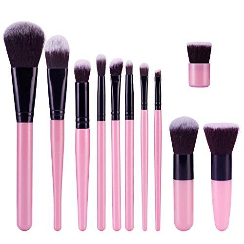 TOPBeauty Kit de Pinceau maquillage Professionnel 11 PCS Ombre a Paupiere Dore Blush Fondation Pinceau Poudre Fond de teint Anti-cerne Kit Pinceaux Pink Black