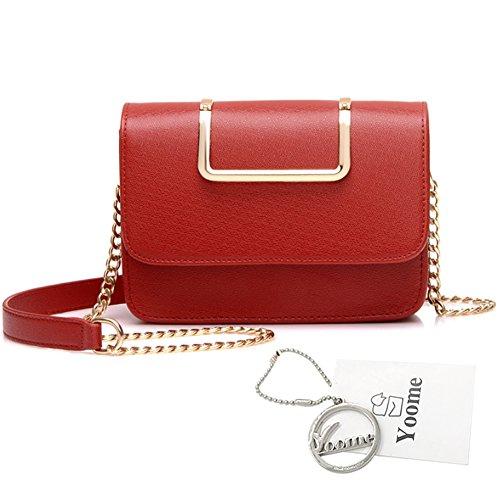 Yoome Upscale Pure Farbe Mode Klappe Tasche Kette Taschen für Mädchen Business Taschen für Frauen Leder - Schwarz Rot