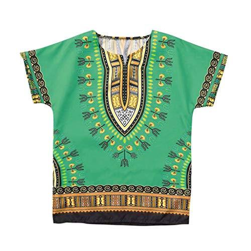 CUTUDE Vetement Fille Garçon Enfant Manches Courtes T-Shirts Adolescent Unisexe Décontractée Africain Style Ethnique Tops Tee Gilet Chemise (8-10 Ans, Vert)