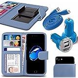"""Asus Zenfone 4 Selfie Pro ZD552KL (5.5"""") - Fall Super-Essentials Pack Clamp Frühlings-Art PU-Leder-Mappe + Dual Einschuss Charger + Micro-USB-1 Meter flache Datenkabel - Light Blue"""