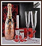 Geschenk Champagner Moet & Chandon N.I.R. Dry Rosé + 20 DreiMeister Edel Schokoladen & 2 Stölzle Champagnergläser kostenloser Versand