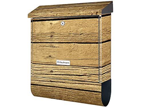 KlebeSpatz® Motiv Bild Wand Briefkasten XXL Premium Line Holz 1 mit Zeitungsrolle Zeitungsbox A4 Einwurf Rostfreier Stahl