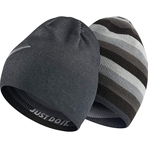 Nike Kinder Reversible Beanie, Black/Wolf Grey, One Size